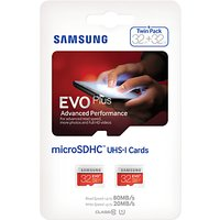 Samsung EVO Plus Advanced Performance microSDHC UHS-I Memory Card, 32GB, 80MB/s Read Speed, Twin Pack