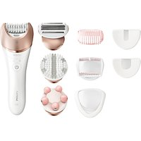 Philips BRE650/00 Satinelle Prestige Wet and Dry Epilator, White/Pink