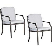 image-John Lewis & Partners Marlow Aluminium Garden Dining Armchair, Set of 2, Black/Grey