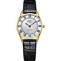 Rotary LS90803/01 Womens Les Originales Ultra Slim Leather Strap Watch, Black/White