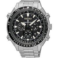 Seiko SSG001P1 Mens Prospex Chronograph Radio Synchronised Solar Bracelet Strap Watch, Silver/Black