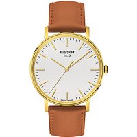 Tissot T1094103603100 Mens Everytime Leather Strap Watch, Tan/White