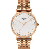 Tissot T1094103303100 Men's Everytime Mesh Bracelet Strap Watch, Rose Gold/White