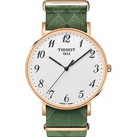 Tissot T1096103803200 Men's Everytime Fabric Strap Watch, Green/White