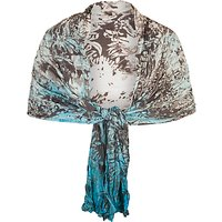 Chesca Painted Ombre Crush Pleat Shawl, Ivory/Turquoise