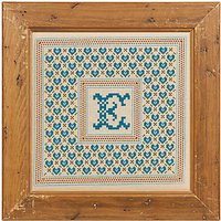 Historical Sampler Heart Trellis Initial Cross Stitch Sampler Kit