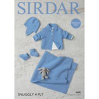 Sirdar Snuggly 4 Ply Baby Blanket and Cardigan Knitting Paper Pattern, 4686