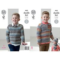 King Cole Drifter DK Children's Jumpers, Hat and Scarf Knitting Pattern, 4453