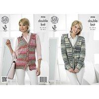 King Cole Drifter DK Women's Cardigan and Waistcoat Knitting Pattern, 4256