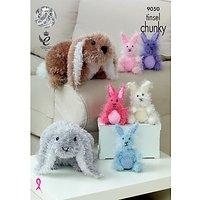 King Cole Tinsel Chunky Rabbit Plush Knitting Pattern, 9050
