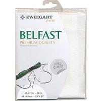 Zweigart Belfast Linen 32ct Embroidery Fabric, White