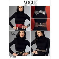 Vogue Misses' Women's Belts Sewing Pattern, 9222, One Size