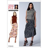 Vogue Misses' Women's Ruffle Neck Top and Asymmetrical Skirt Sewing Pattern, 1515