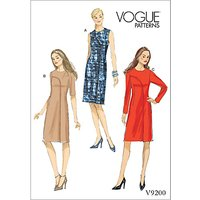 Vogue Misses Womens Asymmetrical Overlay Dresses Sewing Pattern, 9200