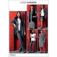 Vogue Misses' Women's Outfits Sewing Pattern, 9215