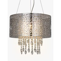 John Lewis Destiny Crystal Fretwork Pendant Ceiling Light, Silver/Clear