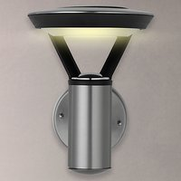 John Lewis Outdoor Solar LED Easy-to-Fit Stainless Steel Wall Light, Clear/Black