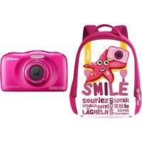 Nikon COOLPIX W100 Waterproof Digital Camera, 13.2MP, HD 1080p, 3x Optical Zoom, Bluetooth & 2.7 LCD Screen