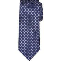 John Lewis Woven in Italy Diamond Print Silk Tie, Navy