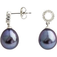 A B Davis 9ct White Gold Diamond Set Pearl Drop Earrings