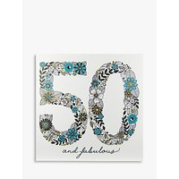 Rachel Ellen Azalea Age 50 Teal Flower Birthday Card