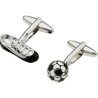 John Lewis & Partners Football Cufflinks, Black/silver