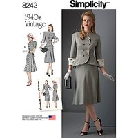 Simplicity Womens Vintage Suit Sewing Pattern, 8242