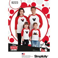 Simplicity Disney Mickey Mouse T-Shirt Sewing Pattern, 8223, A