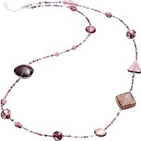 Martick Galaxy Murano Glass and Crystal Long Necklace, Plum