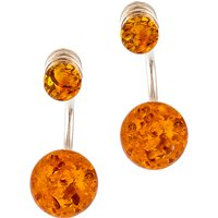 Be-Jewelled Cognac Amber Sterling Silver Double Bead Earrings, Amber