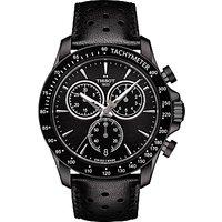Tissot T1064173605100 Mens V8 Chronograph Date Leather Strap Watch, Black