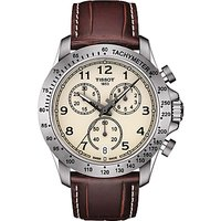 Tissot T1064171626200 Men's V8 Chronograph Date Leather Strap Watch, Brown/Cream