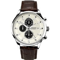 Sekonda 1177.00 Mens Chronograph Date Leather Strap Watch, Dark Brown/Cream