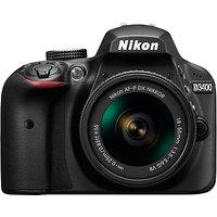 Nikon D3400 Digital SLR Camera with 18-55mm VR Lens, HD 1080p, 24.2MP, Optical ViewFinder, 3 LCD Monitor, Black