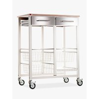 Don Hierro Onda Double Butcher's Trolley, Ivory White / Beech