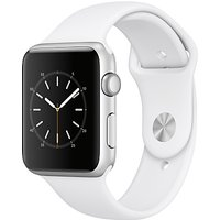 apple watch series 1, 42mm silver aluminium case with sport band, white