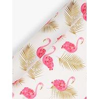 John Lewis Flamingo Gift Wrap, 3m, Pink/Gold