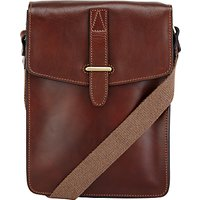 John Lewis Made in Italy Leather Reporter Bag, Brown