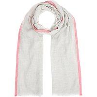 John Lewis Neon Border Melange Scarf, Grey/Soft Pink