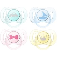 Philips Avent Mini Soother, 0-2 months, Pack of 4, Assorted