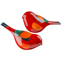Poole Pottery Volcano Birds, Set of 2, Red/Multi