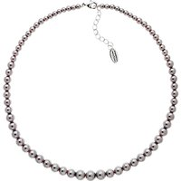 Finesse Graduating Glass Pearl Collar Necklace, Grey