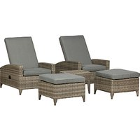 Royalcraft Windsor 2 Seater Garden Relaxer Reclining Chairs and Table Set, Grey