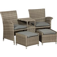 Royalcraft Windsor Fixed Companion Garden Chairs Set With Stools, Grey