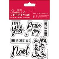 Docrafts Clear Traditional Christmas Stamps, Pack of 6