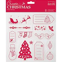 Docrafts Christmas Stamps, Pack of 14, Clear