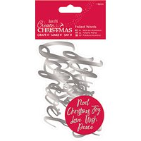 Docrafts Foiled Christmas Words, Pack of 12, Silver