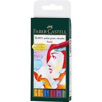 Faber-Castell Pitt Artist Pens, Pack of 6, Basic