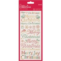 Docrafts Merry Christmas Glitter Dot Stickers, Red/Gold