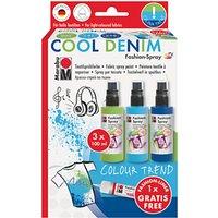 Marabu Fabric Spray Paint Cool Denim Set, Pack of 3, Green/Blue
